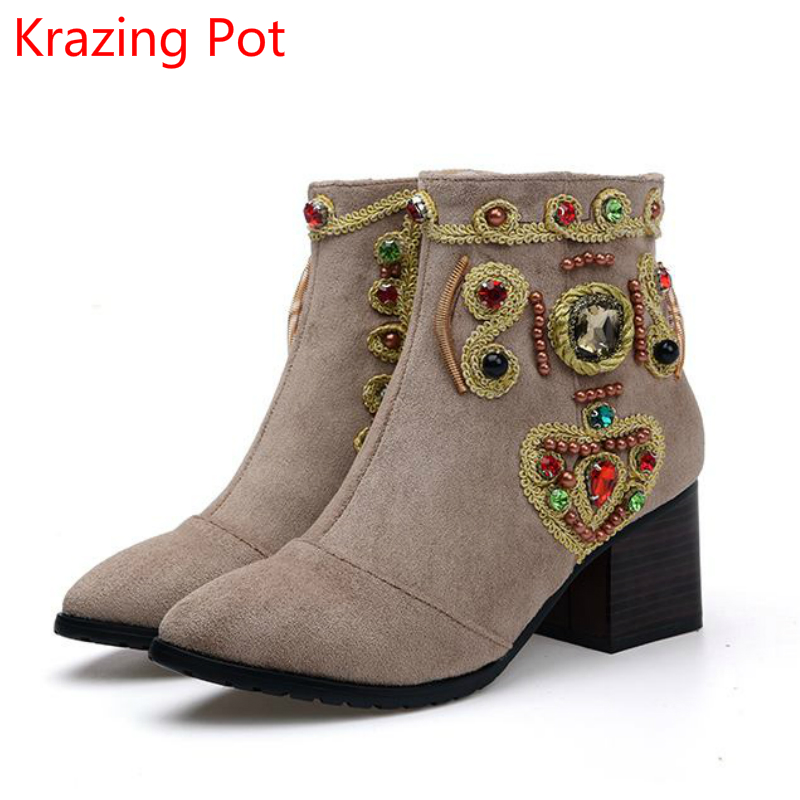 2018 Chinese Style Fashion Crystal Sheep Suede Rivets Embroidery Fashion Winter Boots Superstar Brand Ankle Boots for Women L22 a three dimensional embroidery of flowers trees and fruits chinese embroidery handmade art design book