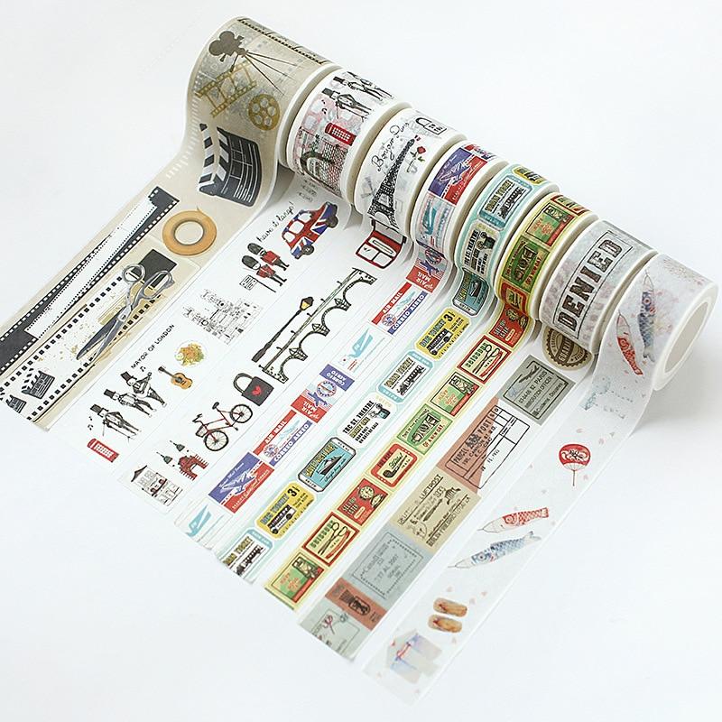 Vintatge Travel Washi Tapes Design Traveller Notebook Supplies DIY Masking Tapes 15mm/20mm/25mm/40mm*7M Decoration Gift 10pcs