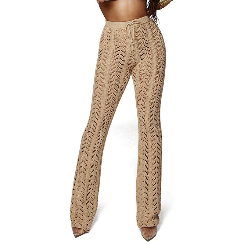 Cncool Sexy Knitted Hollow Out Pants Summer Lady Solid See Through Mesh Crochet Flare Pant Bodycon Trousers For Party Night Club