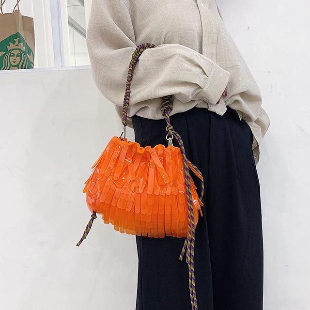 Летняя Пляжная прозрачная сумка на шнурке, женская модная брендовая дизайнерская сумка с кисточкой 2019