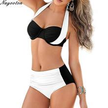bd07147e7aa02 Лето Push Up новый комплект бикини пикантные женские Холтер Купальники  Высокая талия купальники дамы плавания плюс