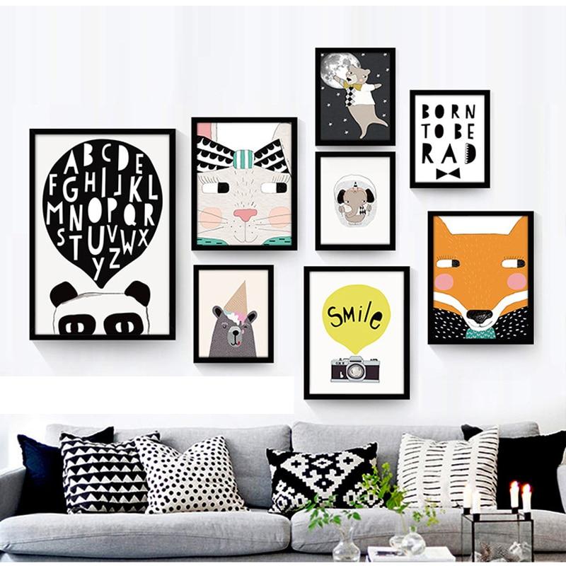 블랙 화이트 북유럽 미니멀 동물 곰 캔버스 아트 인쇄 포스터 벽 사진 그림 홈 아이 방 장식 포스터