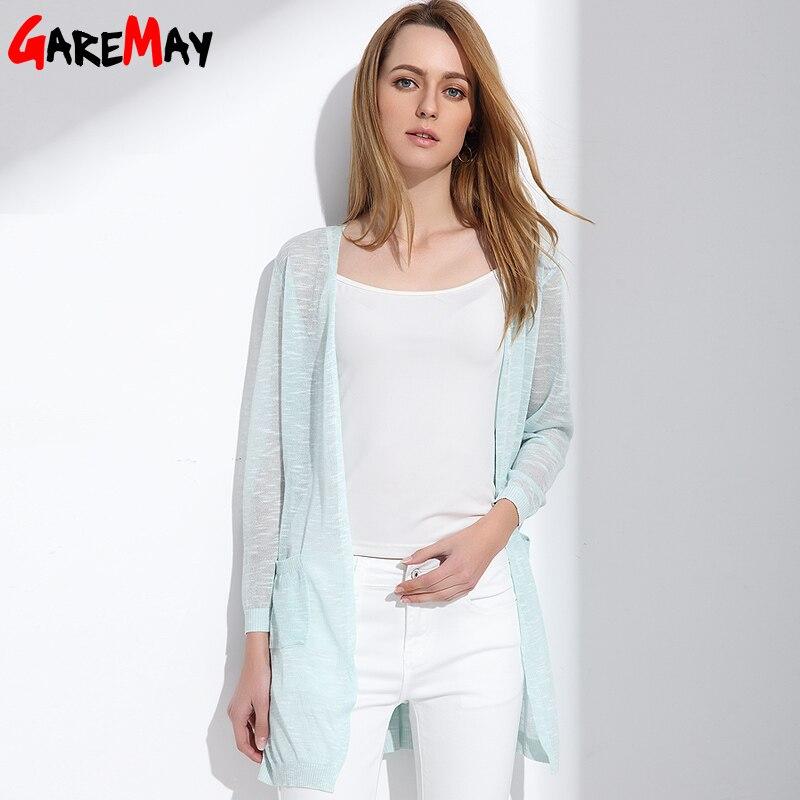 GAREMAY Summer Long Cardigan Woman Knitted Blusas Y Camisas s