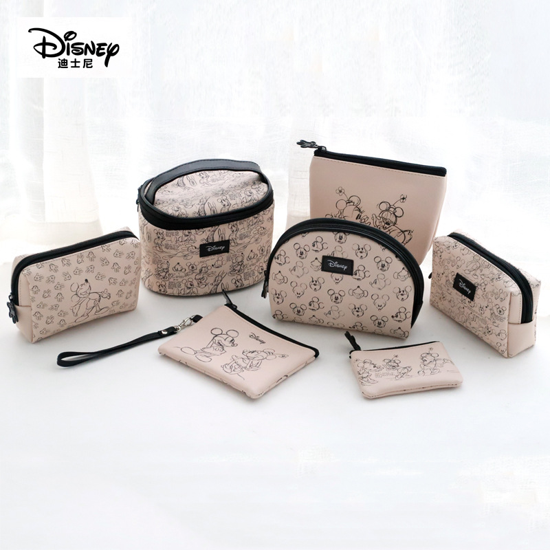 Genuine Disney Mickey Minnie Multi-function Women Cosmetic Bags Purse Baby Care Bags Fashion Mummy Bags Disney Girls Gifts