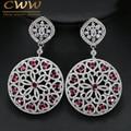 CWW Brand Design Round Drop Hyperbole Heart Shape Red Cubic Zirconia Long Big Earring Best Women Party Wedding Jewelry  CZ180