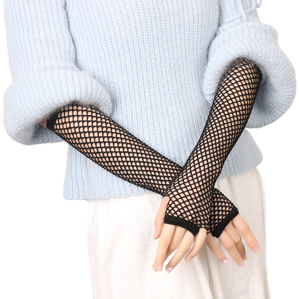Women Gloves Hollow Out Holes Sexy Punk Goth Lady Disco Dance Costume Fingerless Mesh Fishnet Gloves