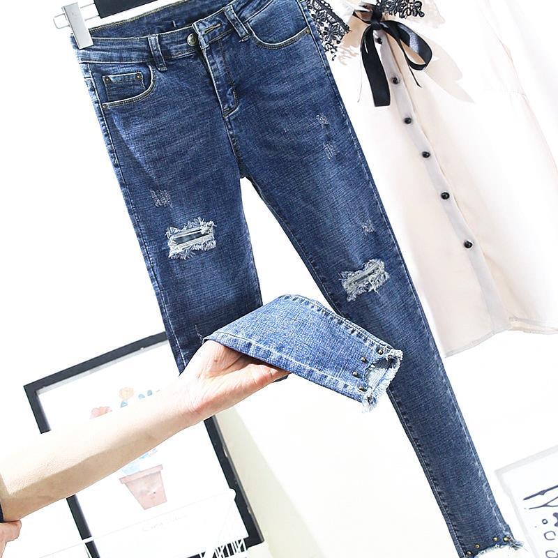 2019 New Skinny Pencil   Jeans   Female Hole Blue Pants Cotton Ripped Ankle Length Blue Women   Jeans   Trousers Pants Plus Size
