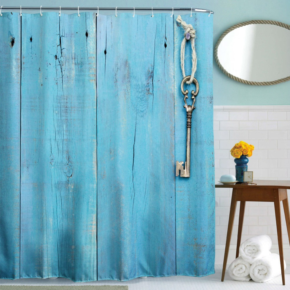 Blue bathroom curtains - Waterproof Polyester Home Bathroom Shower Curtain Blue Door Key Pattern Shower Curtains Decor With 12 Hooks