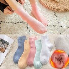 Retro Plus Velvet Thickening Leisure Simple Solid Color Women Socks Autumn Winter Female New 6 Styles Mid Tube