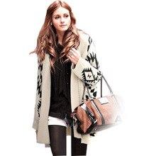 Осень Зима Новинка вязаный кардиган женский свободный свитер шаль длинный Алмазный геометрический узор джемпер Vestidos LXJ270