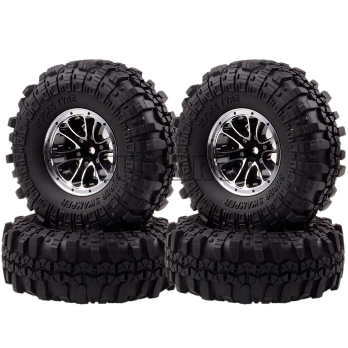 NEW ENRON RC 1051-7035 Wheel Rim & 110MM Tyre Tires SET 1/10 1.9 Metal Rock Crawler 4PCS RC CAR TIRES mxfans rc 1 10 2 2 crawler car inflatable tires black alloy beadlock pack of 4