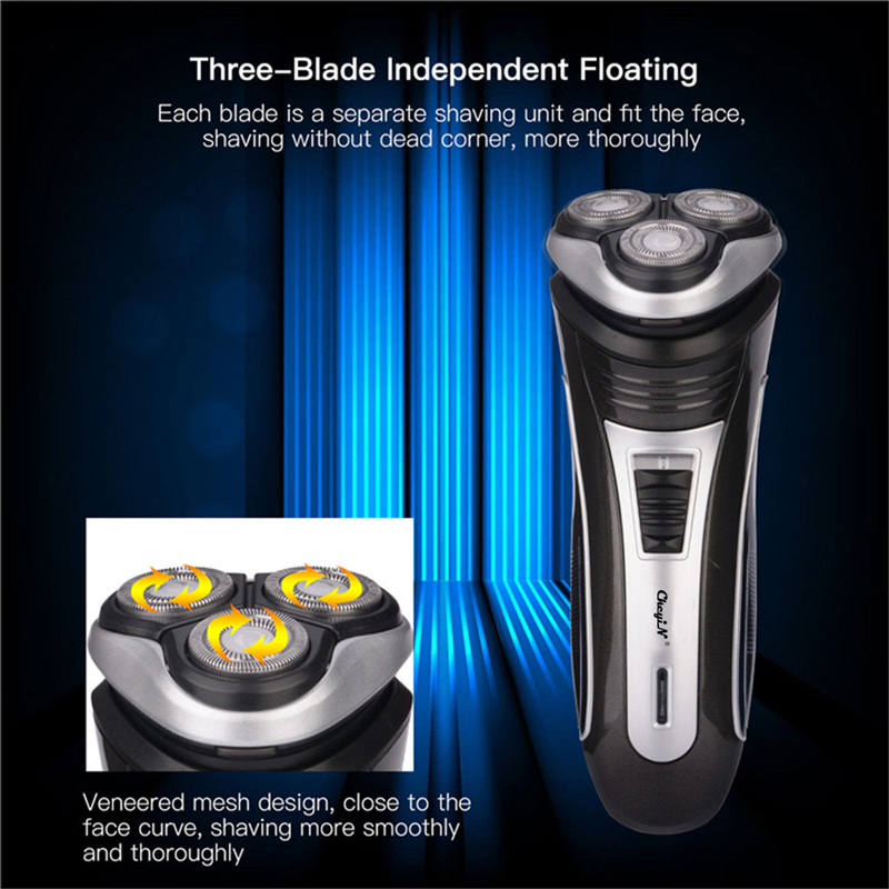 Triple Floating Blade Heads Rechargeable Electric Shaver Shaving Machine Razor With Pop-up Beard Trimmer Face Care For Men 4041