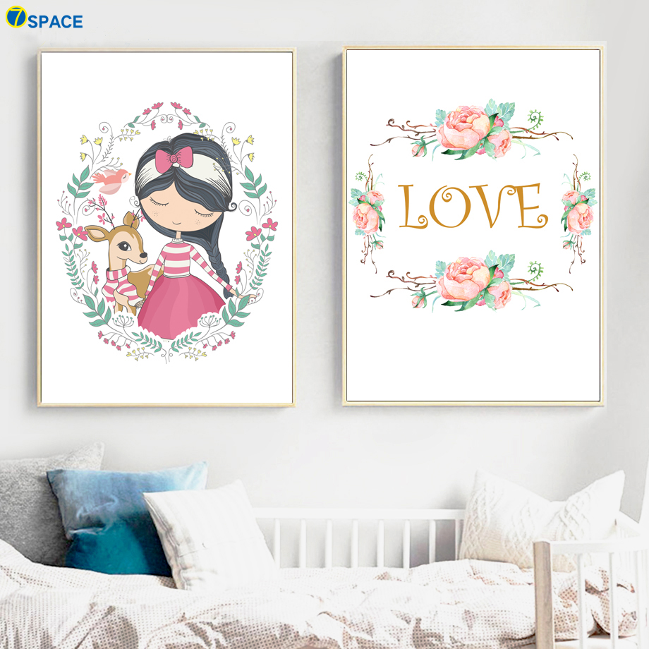 Animal Print Deer Girl Flower Love Nursery Nordic Posters And Prints Wall Art Canvas Painting Wall Pictures Baby Kids Room Decor in Painting Calligraphy from Home Garden