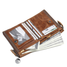 Genuine Leather Men Wallet Short Card Holder Small Zipper Luxury Brand Male Purse Coin Pocket Clip