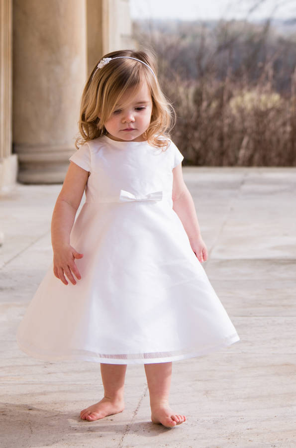 Free Shiping Flower Girls Dresses For Wedding  Mid-Calf Baby Girl Clothes Satin Communion Dresses