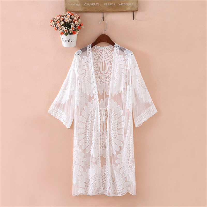 2019 Pareo Beach Cover Up Floral Embroidery Bikini Cover Up Swimwear Women Robe De Plage Beach Cardigan Bathing Suit Cover Ups (White)