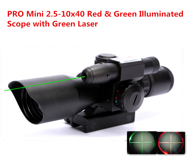 2.5-10x40 Tactical Riflescope Green Laser Sight Red & Green Dot Illuminated Mil Dot Rifle Scope for Hunting 2 5 10x40 tactical rifle scope outdoor hunting accessories mil dot red green illuminated red laser mount rifle scope