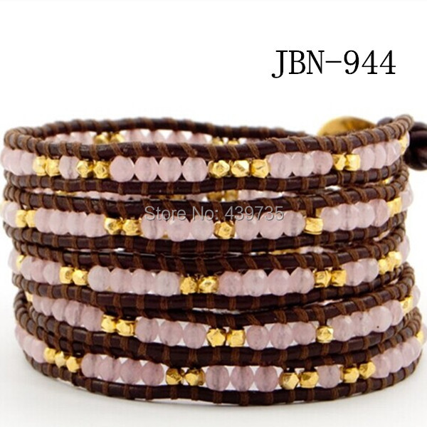 2016 new arrival copper and pink stone beads bangle vintage Style weaving leather beaded bracelet adjusted bracelet JBN-944