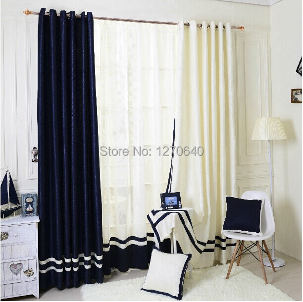 Popular Navy Style Home Goods Solid Color Blackout Curtains With Sheer Curtain For Living Room One