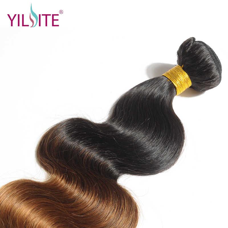 Илитэ в синьцзан Европейский объемная волна переплетение человеческих волос, эффектом деграде (переход от темного к Цвет T1B/30-пучки волос Remy 12 дюймов-26 дюймов 1 Комплект Бесплатная доставка