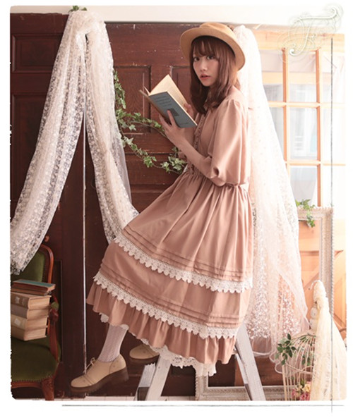 Japanese Style Mori Girl Maxi <font><b>Dress</b></font> Light <font><b>Tan</b></font> Half Sleeves Lace Trim Long <font><b>Dress</b></font>