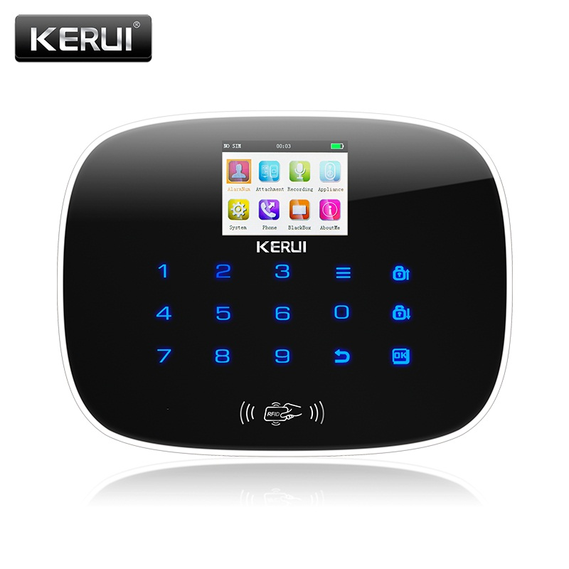 KERUI Black IOS Android APP Wireless GSM Alarm System TFT Color Display Autodial Text Burglar Intruder