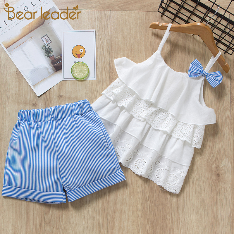 Bear Leader Kids Girl Clothes 2019 Fashion Sling Flower Bow Baby Girls Shirt + Stripe Shorts 2pcs Suit Children Clothing Sets
