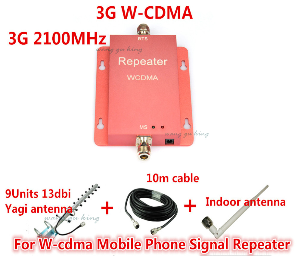 Hot sale mini WCDMA 2100Mhz 3G Repeater UMTS Signal Booster ,3g cell phone signal booster repeater amplifier +13dbi Yagi antenna