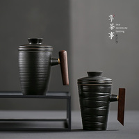 Black pottery Office Mug with filter and cover household ceramic cups tea cup