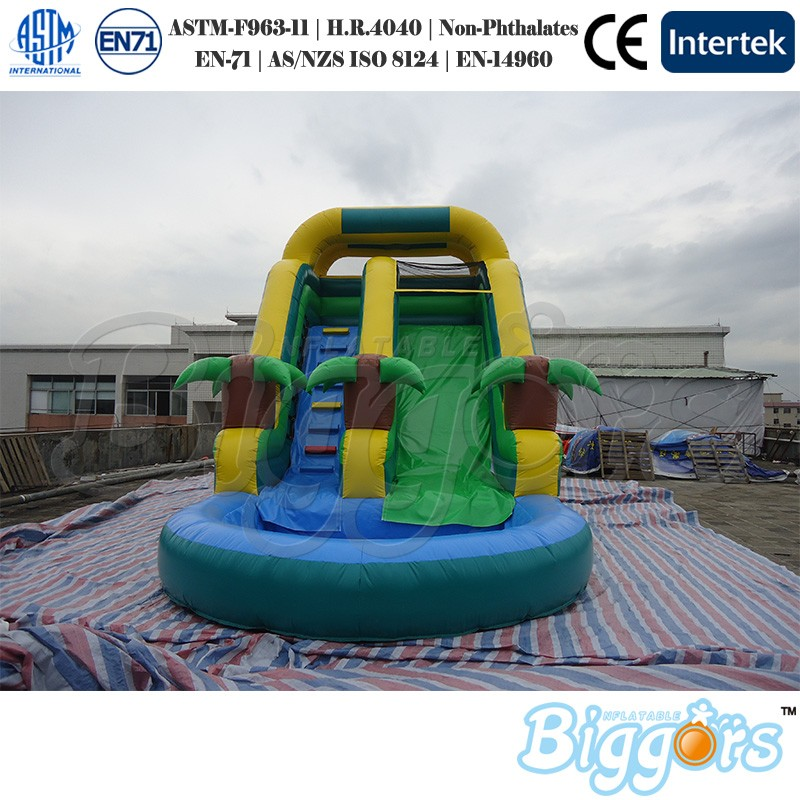 Commercial Inflatable Outdoor Tropical Inflatable Jungle Water Slide with Pool inflatable pool slide funny water slide combo dual slides