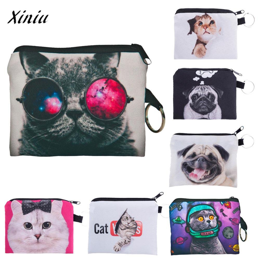 Girl Animal Cute Cat Dog printing coins change purse Clutch zipper zero wallet phone key bags Female Women Fashion girl coins purse printing zipper change clutch wallet bag cute emoji key bags monedero para monedas 7111