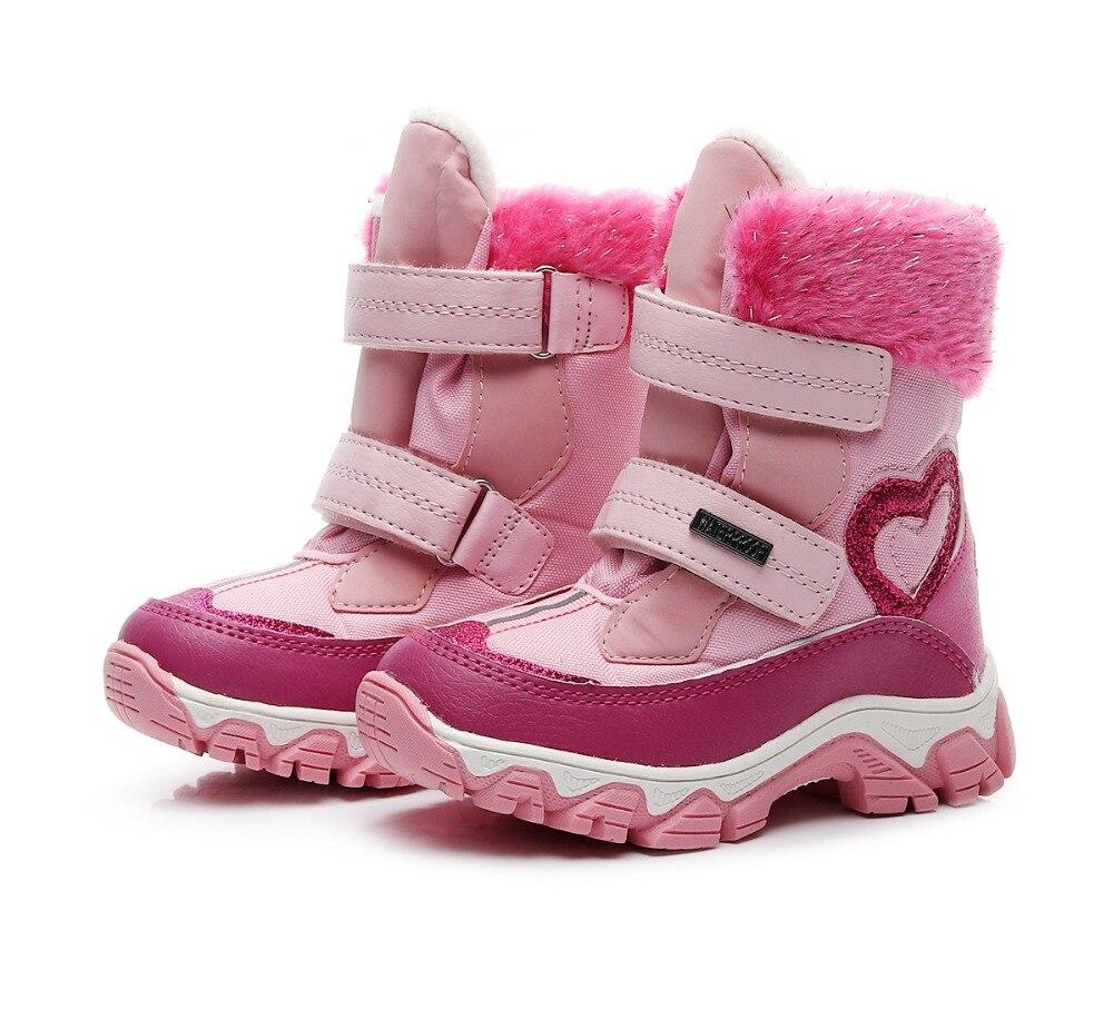 Новые 1 пара зимние теплые ботинки для девушек кожаные детские лыжные ботинки 30 градусов Модные Детские Водонепроницаемые зимние ботинки