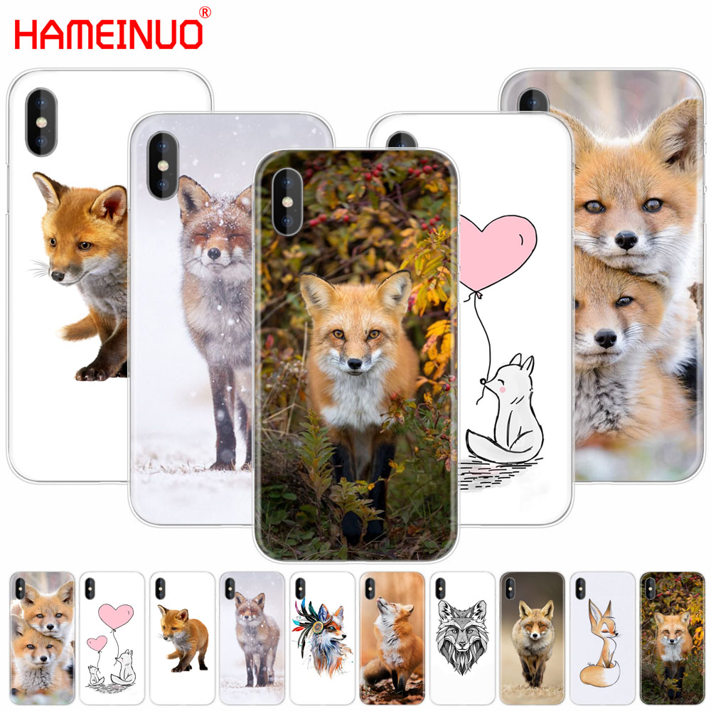 HAMEINUO fox cute lovely animal cell phone Cover case for iphone 6 4 4s 5 5s SE 5c 6 6s 7 plus case for iphone X 8