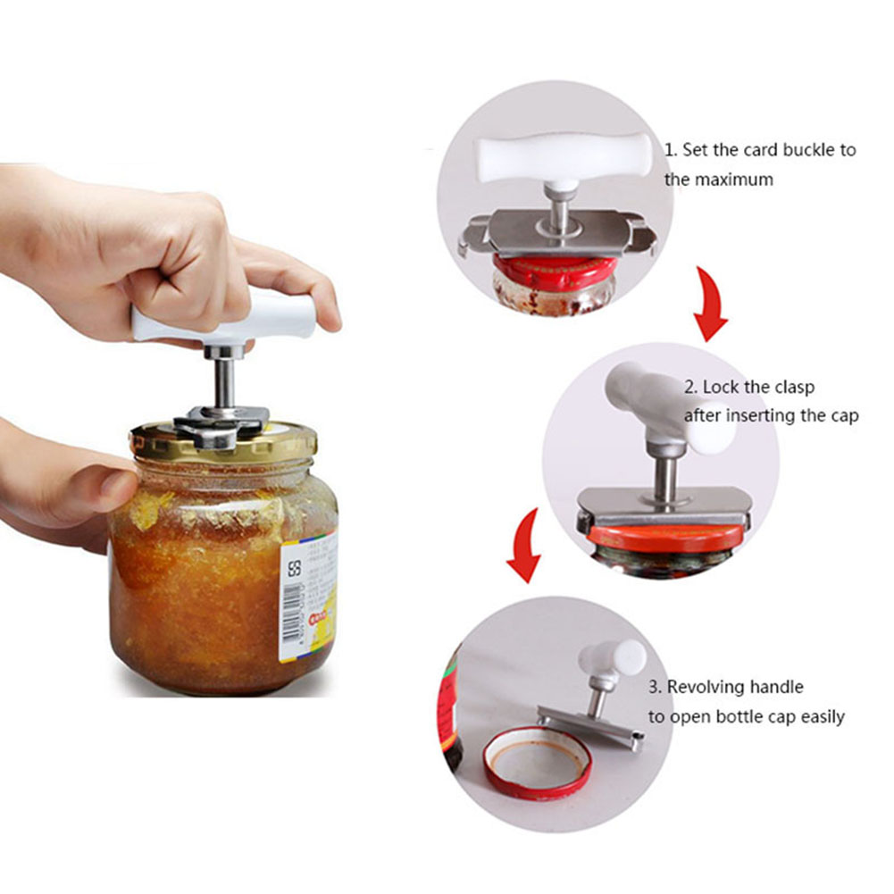 1PC Stainless Steel Adjustable Can Opener Manual Can Opener Bottle Opener Easy Can Opener Stainless Steel Lids Off
