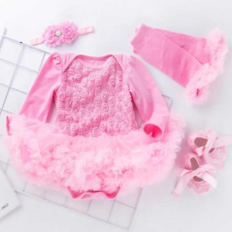 2550741be6386 ... 3D Rose Girls Valentines Day Outfits Lace Romper Dress Headband Shoes  Leg Warmers Newborn Baby Girl ...