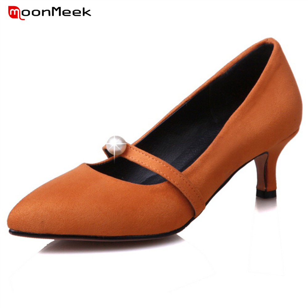 MoonMeek new win 2020 mature woman pumps med thin heel pointed toe sexy ladies shoes simple women fashion shoes