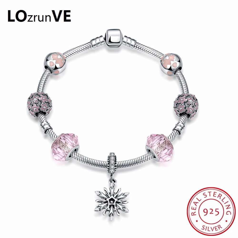 LOZRUNVE New fashion 925 Sterling Silver Legend Glittering Glass Beads Flower Charm Bracelet Sterling Silver Jewelry wholesale