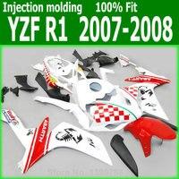 Red&White block fairing kit For YAMAHA YZF R1 07 / 08 ( High quality Abs plastic ) Fairings lx76