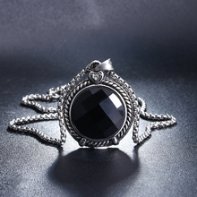 Inlaid Black Crystal Zirconia Glass Stone Necklace Pendant Vintage Stainless Steel Hiphop/Rock Style Jewelry