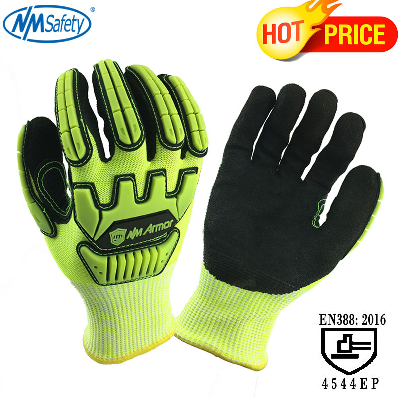 NMSafety Mechanics Safety Work Gloves With HPPE Cut Resistant Liner Anti Vibration Glove