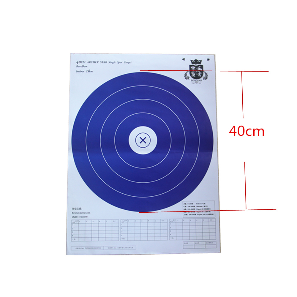 10pcs 5 Ring Single Spot Hunting Practice Target Paper for Recurve Bow 40x40cm