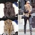 Casual Womens Genuine Raccoon Dog Fur collar Rabbit Fur Vests Design Waistcoat Turn-down Collar Gilet Outerwear Fur coat