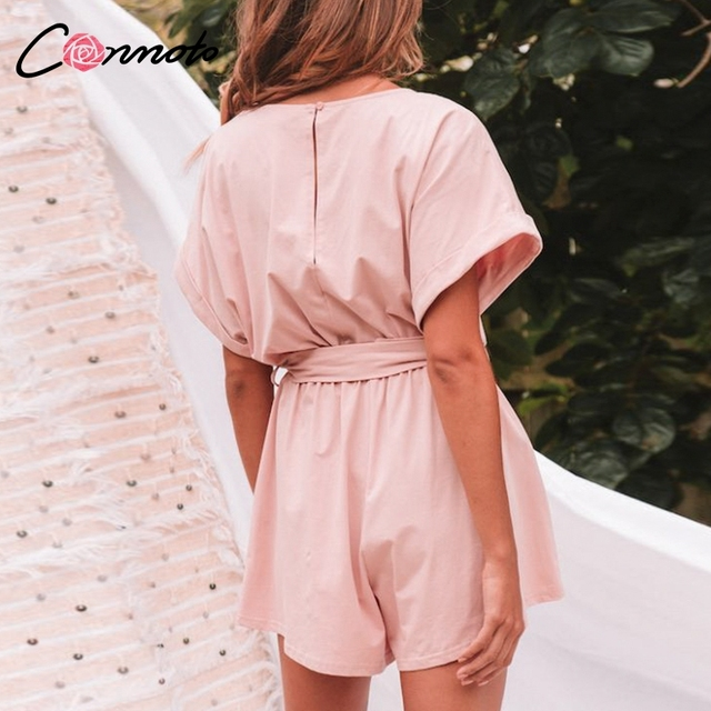 Conmoto Solid Casual 2019 Summer Women Playsuits Romper Beach Belt Tie Loose Female High Fashion Cotton Playsuit 3
