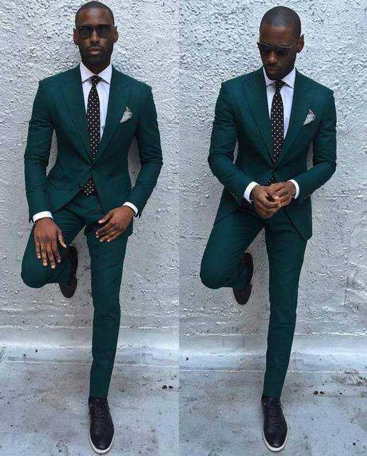 Online Shop Dark Green Slim Men Suits 2017 Handsome Mens Wedding ...