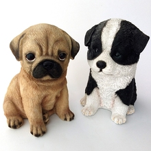 creative resin Pugs dog figurines vintage statue home decor crafts room decoration animal figurine Border Collie gifts