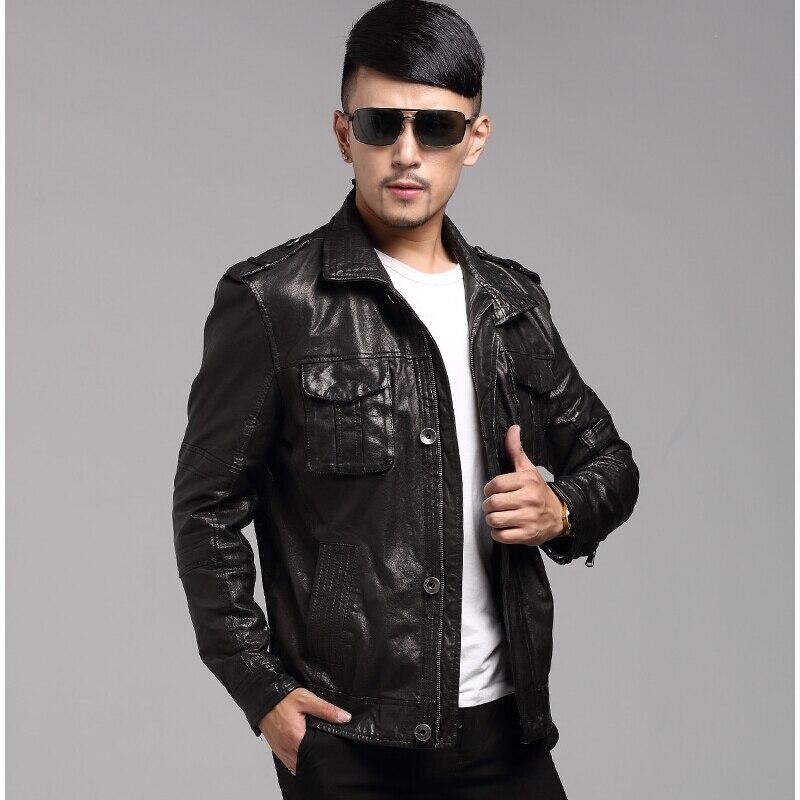 2017 New Men's Genuine Leather Motorcycle Jacket Short Sheep skin Leather Jacket Men Fashion Brand Slim Black Leather Jacket 4XL