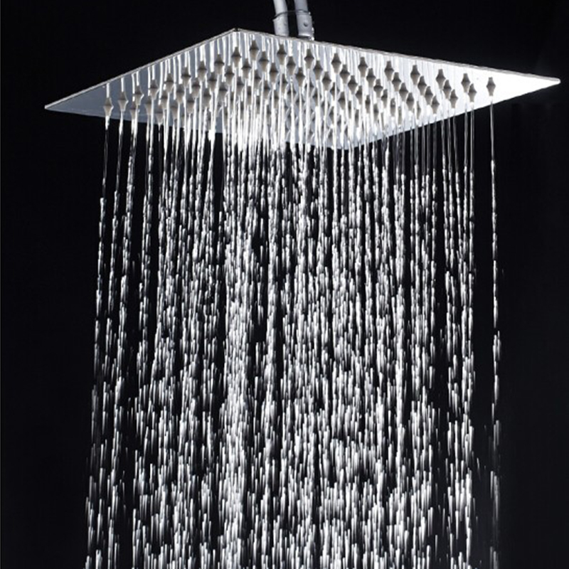 silver 6 Inch Stainless Steel Ultra-thin Waterfall Shower Heads Square High Pressure Rainfall Shower Head Rain Showerheads Shower Heads