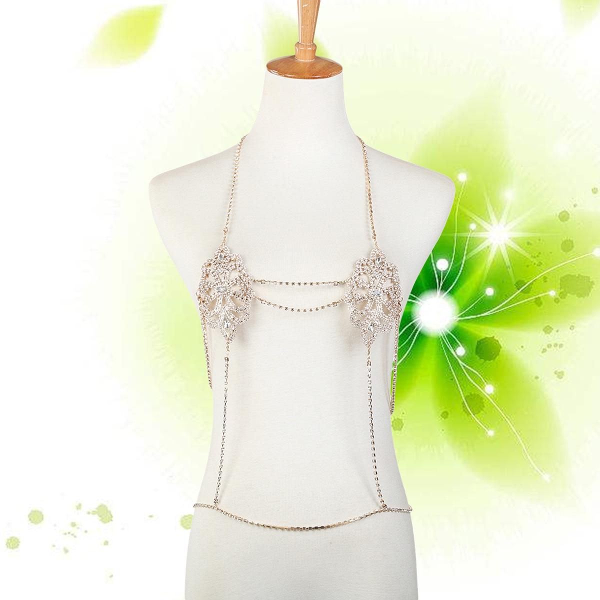 Womens Chest Chain Bikini Gold Body Chain Crossover Harness Alloy Tassel Jewelry