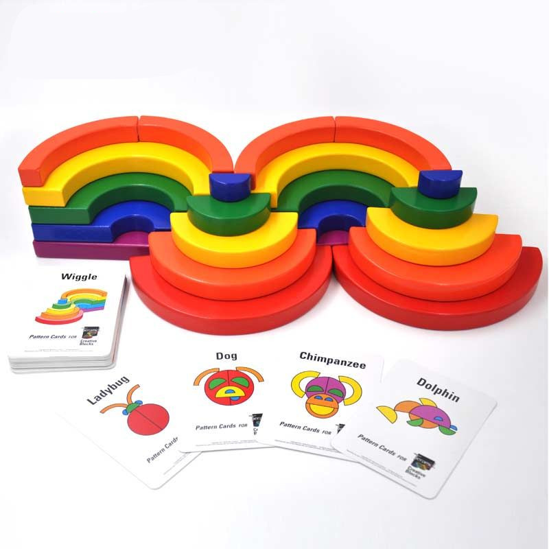 New Arrival Large Circle Set Rainbow Blocks Wooden Toys Child Geometric Assembling Blocks 48Pcs Cards Christmas/Birthday Gift цена 2017