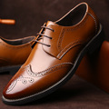 Brogue Leather Shoes Men Flas Italian Man Pointed Toe Oxford Men's Dress Shoes Zapatos Hombre